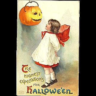 Ellen Clapsaddle vintage Halloween Postcard Series 1237 Girl with her pumpkin