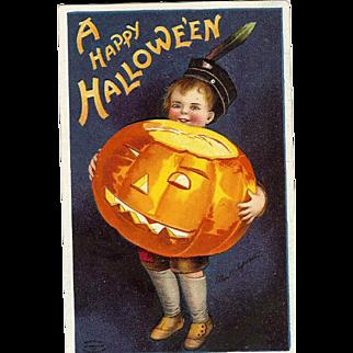 Ellen Clapsaddle Vintage Halloween Postcard Boy holding Jack O Lantern Series 978