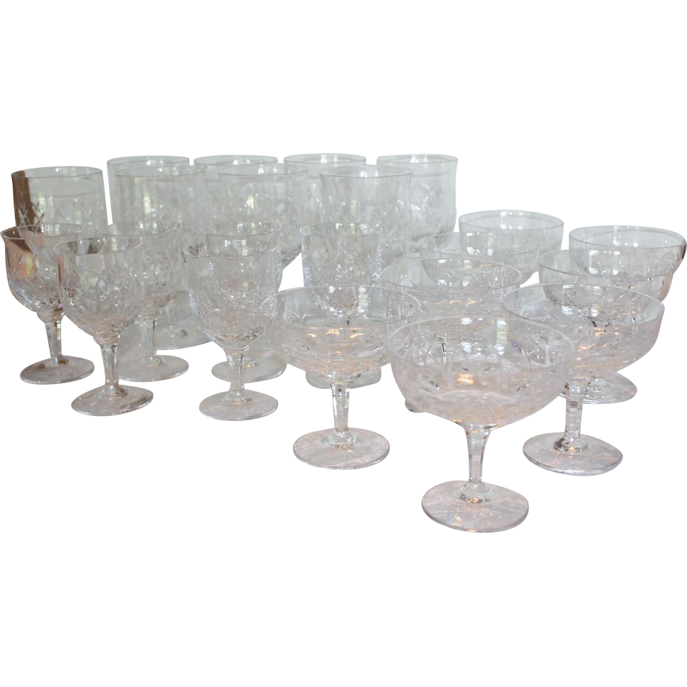 Set of 22 Herend Crystal glasses Wine Water Dessert Juice