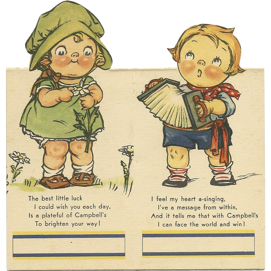 """Set of 2 Campbell Soup Bridge Tally cards Boy playing accordion and girl picking """"He Loves me""""daisy petals"""