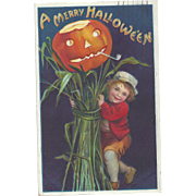 Signed Ellen Clapsaddle Vintage Halloween Postcard Boy with Haystack series 978