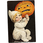 1917 Signed Ellen Clapsaddle Vintage Halloween Postcard Series 1307 black Background