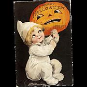 1917 Signed Ellen Clapsaddle Vintage Halloween Postcard Series 1307 black Background