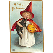 Signed Ellen Clapsaddle Vintage Halloween Postcard Girl Witch in red cape with black cat and Jack O Lantern