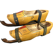 Early 1900's Dutch Wood Shoes Ice Skates J Nooitgedagt.IJLST