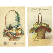 Set of 2 Lovely Vintage Easter Postcards With chicks in a basket - One Ellen Clapsaddle - FREE US Shipping