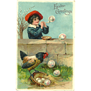 EAS Easter Greeting boy blowing bubbles at Hen Series 5936