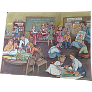 1953 Erna Karolyi 18 x 24 Teachers Easel Reading Print - Work Time