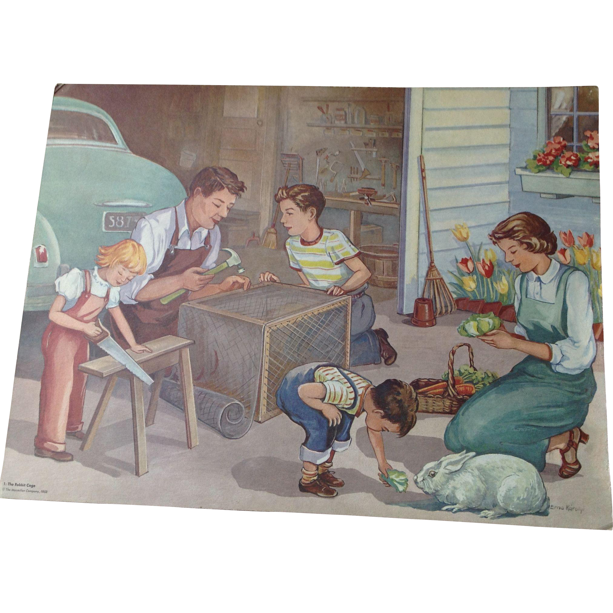 Fabulous vintage 1953 Erna Karolyi 18 x 24 Teachers Easel Reading Print - The Rabbit Cage