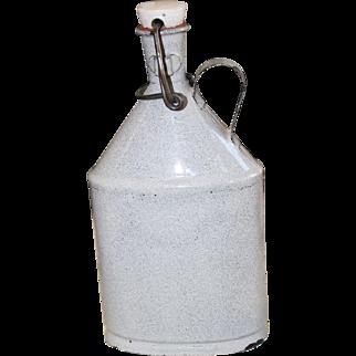 """Rare 8"""" 1800's Enamelware Grey Powder Flask Graniteware"""