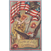 Fourth of July Greetings Miss Liberty Vintage Patriotic Postcard
