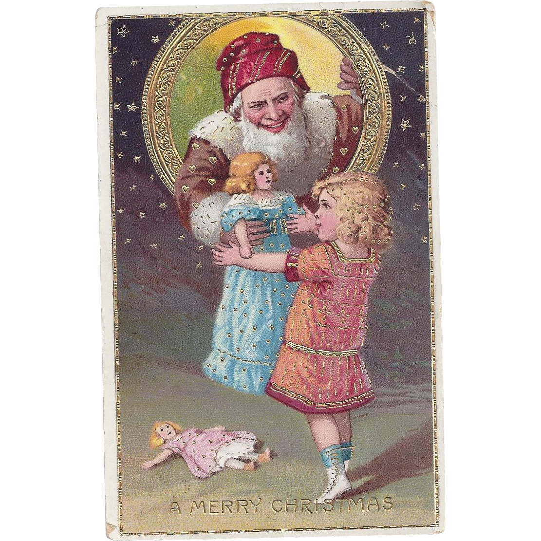 Beautiful Gold Gilt Santa Claus Christmas card with girl and doll Series  7157