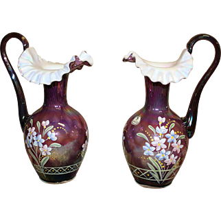 Spectacular pair of Fenton Hand Painted & Signed Pitchers 90 Anniversary Edition
