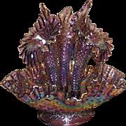 Stunning Elegant Fenton Epergne Flower Vase Purple Iridescent Carnival Glass
