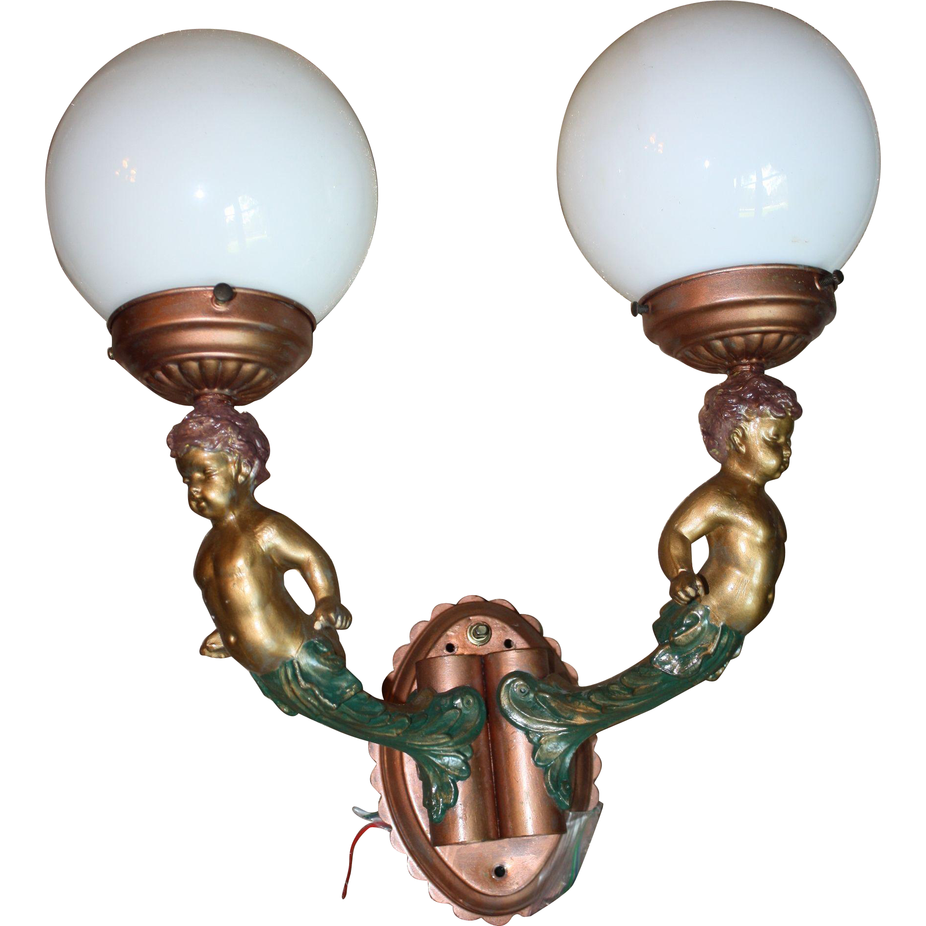 1930's Scarce Dual Globe Cherub Wall Sconce Light