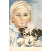 Pretty Blue Eyed Little Girl Vintage Postcard