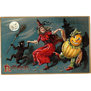 Raphael Tuck Vintage Halloween Postcard Series 150 with a dancing witch
