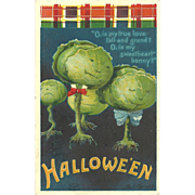 Artist Signed Ellen Clapsaddle Vintage Halloween Postcard Vegetable Cabbage heads