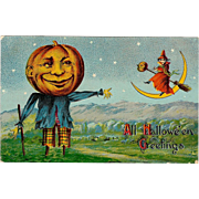 Early 1910 Vintage Halloween Postcard with Pumpkinhead Scarecrow and Witch Flying by Crescent Moon #2276