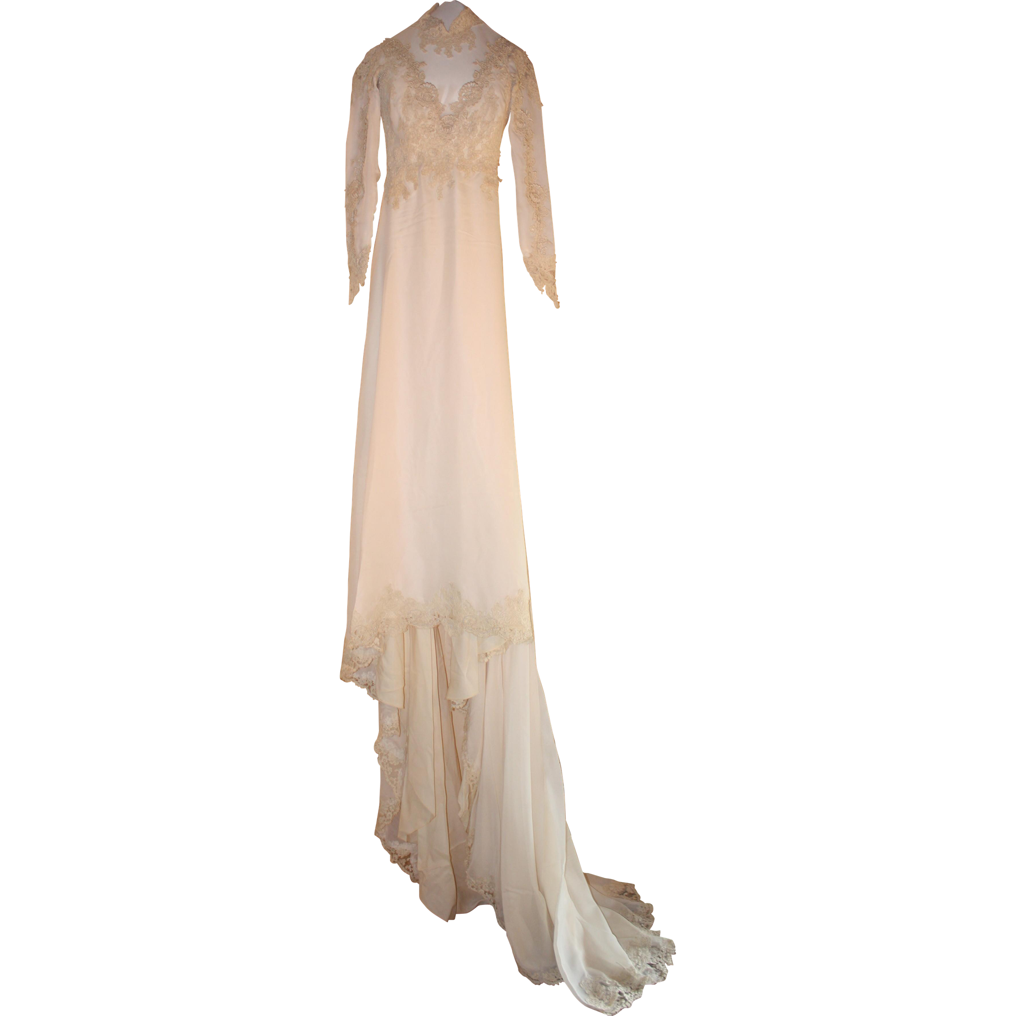 Beautiful 19th Century Silk Chiffon Wedding dress with Battenburg Lace