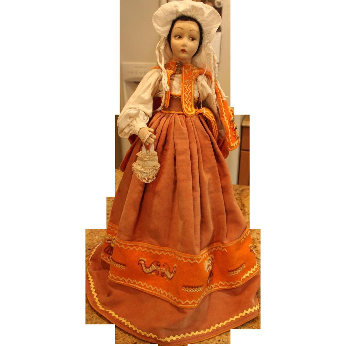 Lenci Vintage collectible felt Cloth boudoir doll 24 inches