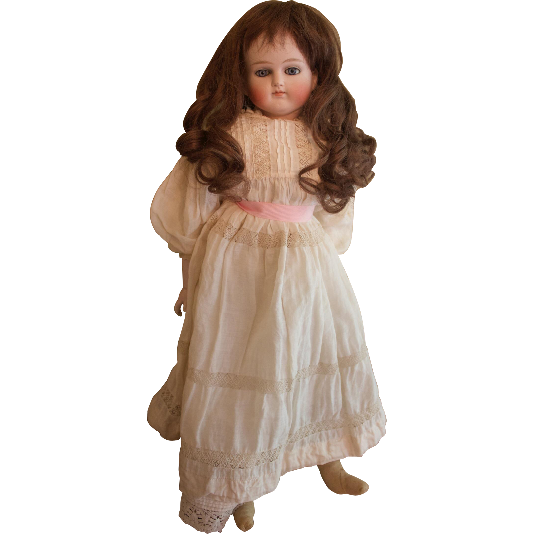 21 inch closed-mouth solid dome turned shoulder bisque head doll