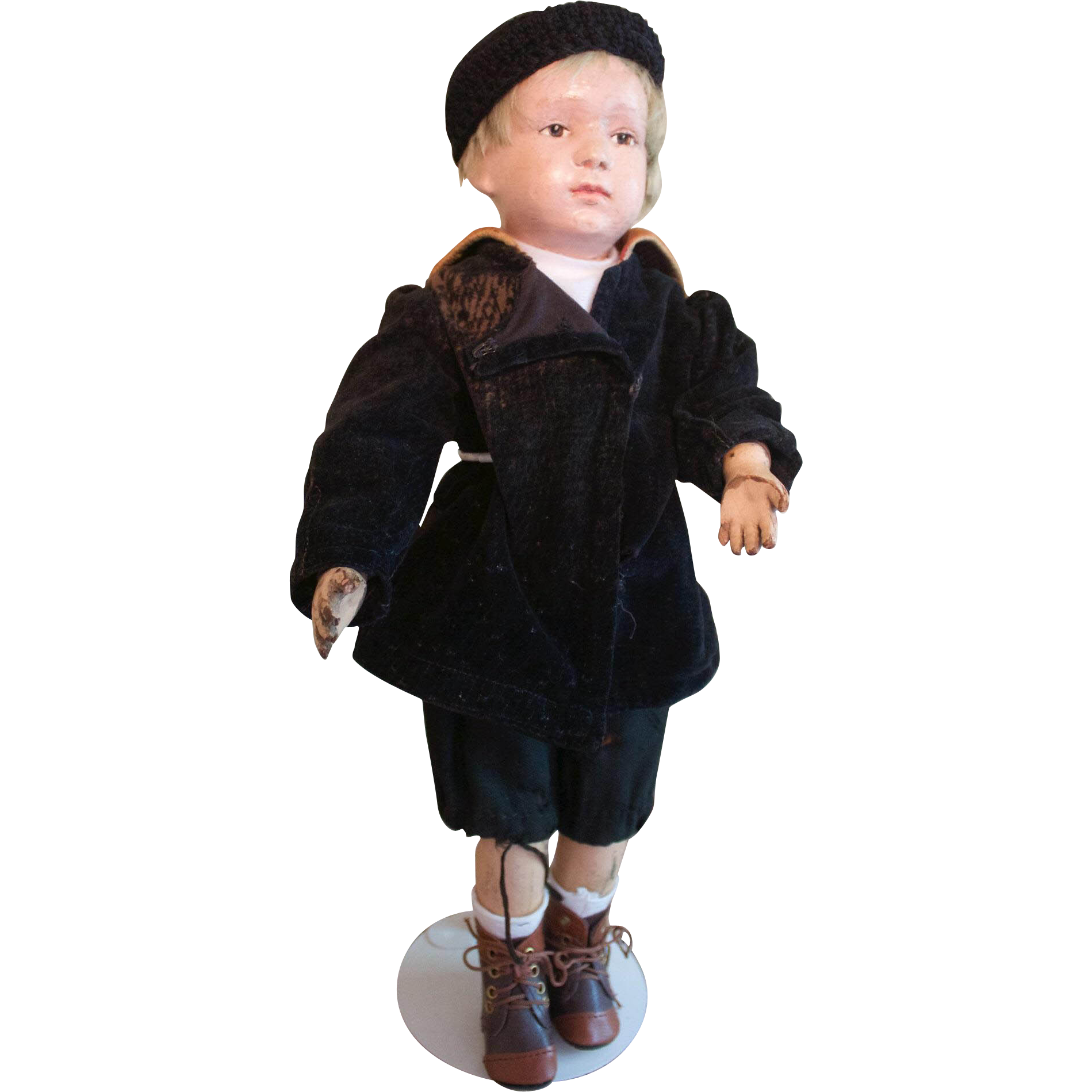 Fantastic 16 inch Schoenhut wooden character boy with pouty face Doll