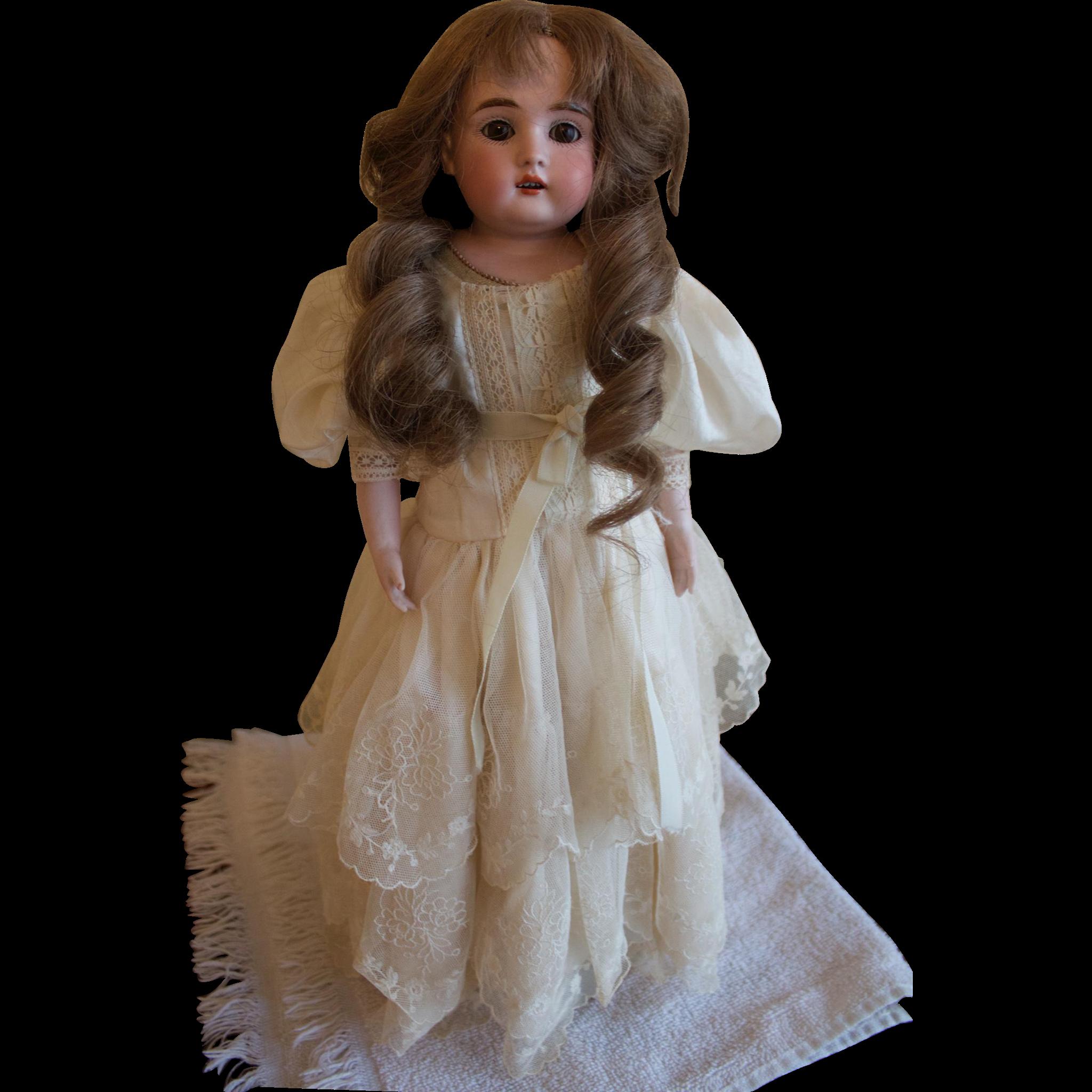 """Great 16"""" Bisque Kestner Shoulder Head Doll Vintage collectible"""