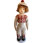 "21"" Lenci Type Alma Felt Boy Vintage Collectible Doll"