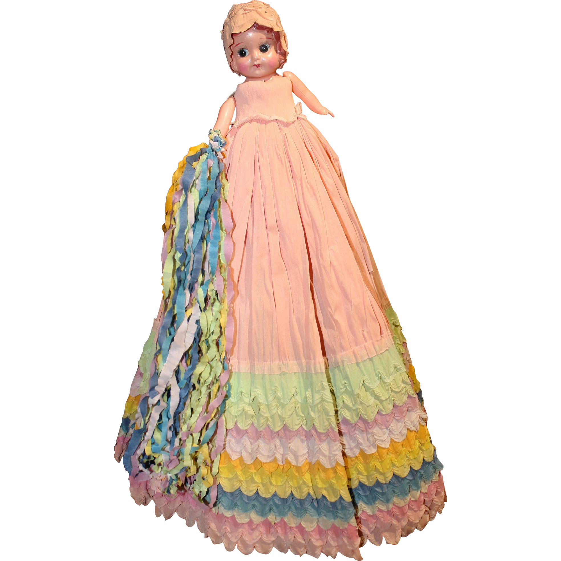 1930's Celluloid Carnival Doll with colorful crepe paper dress