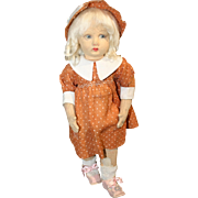 Vintage 1920's-30's Lenci Felt Doll with orange polka dot dress