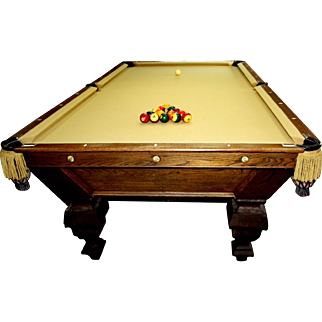Late 1800's Antique  Brunswick Pool Table cue stand and cue sticks