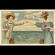Hands Across the Sea Vintage Postcard
