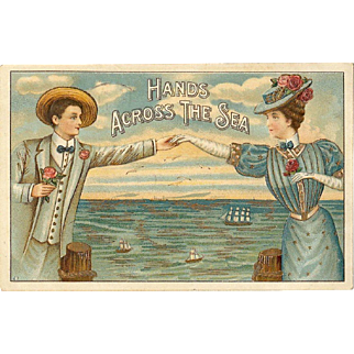 Hands Across the Sea Vintage Postcard
