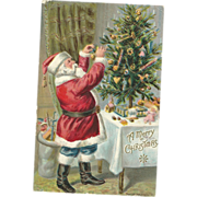 1908 P Sander Santa Claus decorates tree Christmas Postcard