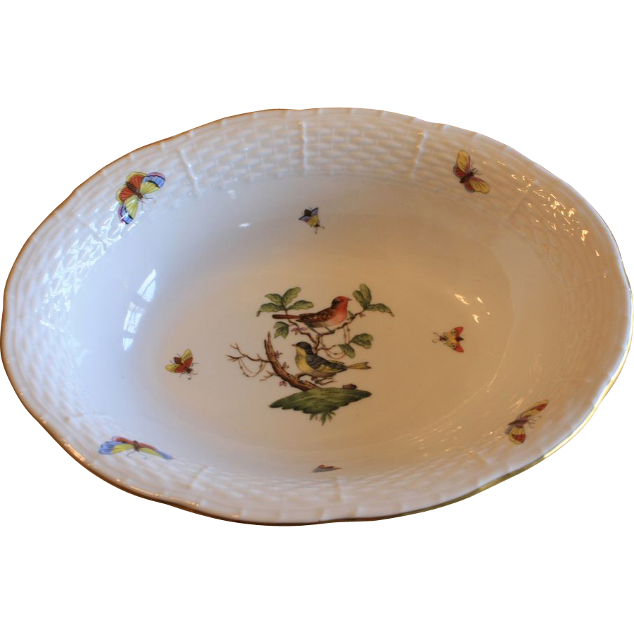 "10"" Herend Rothschild Bird & Insect Vegetable Serving Bowl"