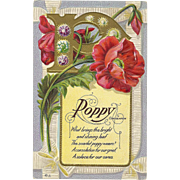 Nash Motto Series No 6 Poppy flower Consolation Memorial   - Vintage Postcard  - FREE US Shipping