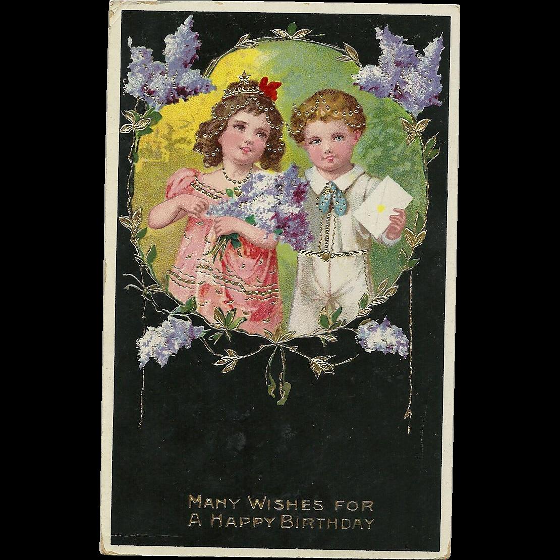 Beautiful gold gilt Gel children Lilacs Vintage postcard