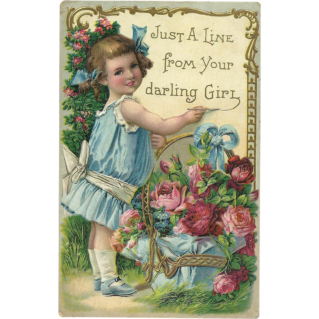 1912 Vitnage Postcard Little girl Artist with Red Pink Roses