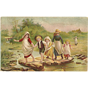 Follow My Leader Children crossing Creek - FREE US shipping