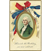 1908 Ellen Clapsaddle Patriotic Ribbon George Washington Vintage postcard