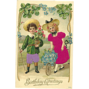 Vintage Silk Postcard Birthday greetin with children flowers and good 4 leaf luck clovers #3443