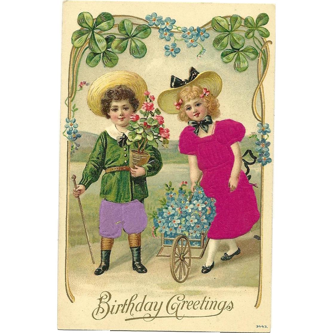 Vintage Silk Postcard Birthday greetin with children flowers and good 4 leaf luck clovers #3443
