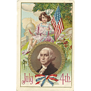 Vintage Patriotic Fourth of July Postcard George Washington Girl holding flag