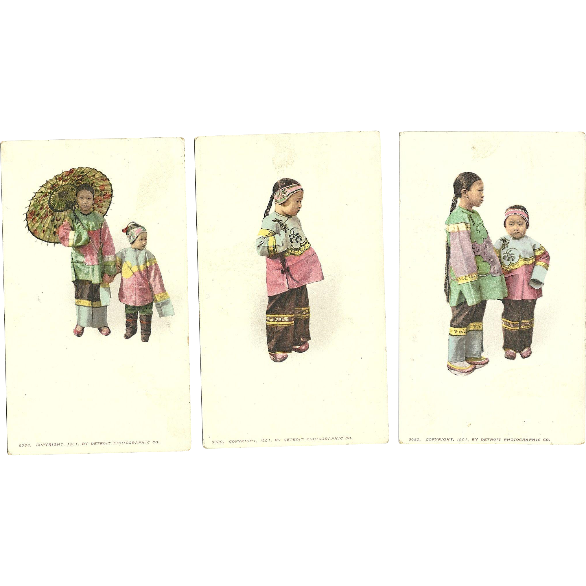 Set of 3 Early 1901 Chinese girls Asian vintage Postcards Detroit Publishing Company
