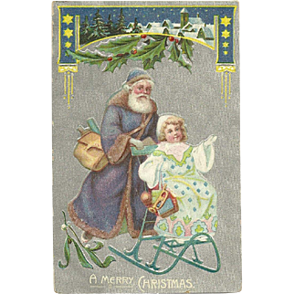 Embossed Blue - Purple Robed Santa Pushes girl on sleigh Christmas Postcard