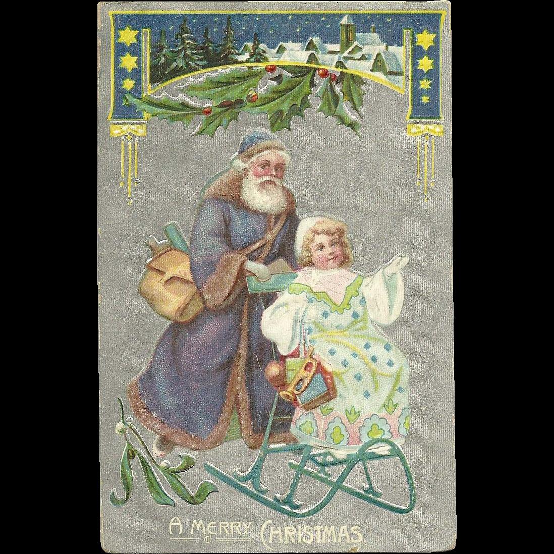 Embossed Blue - Purple Robed Santa Pushes girl on sleigh Christmas Postcard