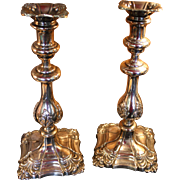 Pair of George II Old Sheffield Silver Candlsticks 1770-1843 with Provenance to President John Adams