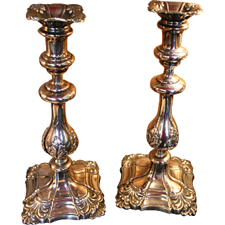 Pair of George II Old Sheffield Silver Candlesticks candlestick 1770-1843 with Provenance to President John Adams
