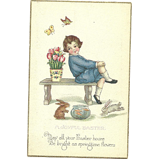 Stetcher Series 903 C Joyful Easter Vintage Postcard boy Tulips Bunny Rabbits